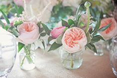 single stems and eucalyptus in bud vases Peonies Wedding Centerpieces, Peonies Centerpiece, Wedding Reception Flowers, Floral Wedding, Wedding Ideas, Wedding Planning, Centrepieces, Table Centerpieces, Flowers In Jars