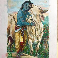 Krishna by Radhe Gendron Hare Krishna, Señor Krishna, Radha Krishna Pictures, Lord Krishna Images, Shiva, Lord Krishna Wallpapers, Radha Krishna Wallpaper, Krishna Painting, Indian Art Paintings