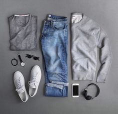 #white #sneakers #jeans #sweat