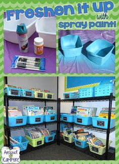 Freshen up your classroom décor by spray painting your book bins.