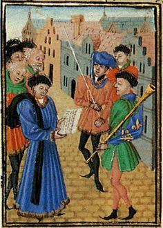 Koning Herold leest enkele burgers een brief voor. Randminiatuur door de Meester van Girart de Roussillon in Jean Wauquelin, Roman de Girart de Roussillon, 1448.  Wenen, Österreichische Nationalbibliothek, Cod. 2549, fol. 59