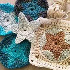 Crochet Granny Square Patterns Crochet Pattern StarFish Blanket Square Joining by CrochetObjet - Crochet Blocks, Granny Square Crochet Pattern, Crochet Granny, Crochet Motif, Crochet Stitches, Knit Crochet, Crochet Patterns, Joining Crochet Squares, Crochet Stars