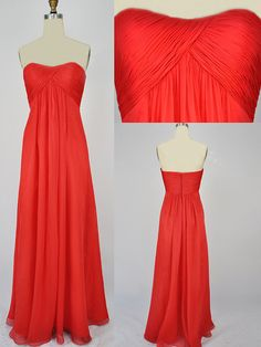 Custom Sweetheart Floor-length Chiffon Red Long Prom/Evening/Party/Homecoming/Bridesmaid/Cocktail/Formal Dress