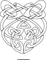 Celtic knot coloring page, shield design complex coloring sheet