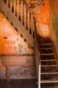 distressed orange wall