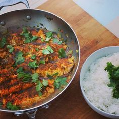 Madhur Jaffrey's salmon curry with basmati rice