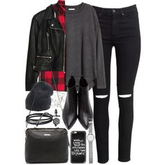 Outfit with black jeans and a check shirt by ferned on Polyvore featuring H&M, Zara, Acne Studios, Linea Pelle, Witchery, Topshop, Simply Vera, Roberto Collina, Casetify and David Yurman
