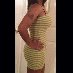 ✂️FINAL PRICE CUT✂️Yellow/Gray Striped BodyCon In excellent condition. Worn just once. E N R Dresses