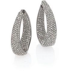 Adriana Orsini Pave Loop Huggie Earrings (2,630 MXN) ❤ liked on Polyvore featuring jewelry, earrings, apparel & accessories, silver, adriana orsini earrings, adriana orsini, oval earrings, loop earrings and hinged hoop earrings