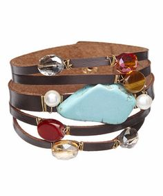 Love this Turquoise Agate & Pearl Layered Leather Bracelet by Oori Trading on #zulily! #zulilyfinds