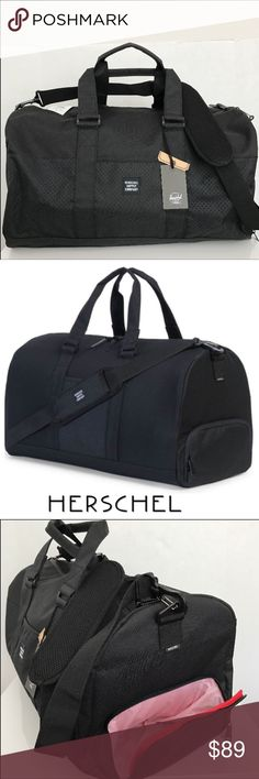New Herschel Duffle Bag🛩🚞 DETAILS✈️🚊 The contemporary and everyday Aspect Herschel Novel™ duffle features perforated accents, along with the signature shoe compartment and a removable shoulder strap. Signature striped fabric liner Internal mesh storage sleeve Two-way waterproof zipper with smooth leather pulls Reinforced and articulated carrying handles Removable padded webbing shoulder strap Signature shoe compartment Two-layer perforated panel detailing Brand new with Tags Approx…