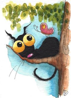 ACEO Original watercolor art painting whimsy Stressie Cat tree butterfly Summer #IllustrationArt