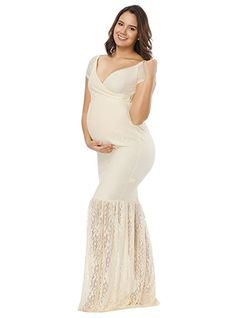 0cdc86b63ae45 JustVH Women's Off Shoulder V Neck Short Sleeve Lace Maternity Gown Maxi  Photography Dress Beige Medium