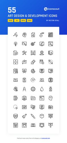Art Design & Development Icon Pack - 55 Line Icons Download Art, Health Icon, Png Icons, Vector Format, More Icon, Icon Pack, Icon Font, Art Design, Printed Materials
