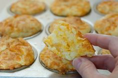 Pioneer Woman's cheese muffins - I had to add a little more flour and made them drop biscuits to avoid spraying a muffin pan. Add granulated garlic, a little more salt and onion power.
