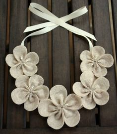 Eco Friendly Felt Flower Bib Necklace  Oatmeal by LittleFluffStuff