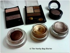On an everyday basis, I usually tend to wear only one eyeshadow all over my lid as a wash of color as I am always in a hurry. Today's post is sharing which shadows I like to wear as a wash of color ..          From Top Left - Wet n Wild Silent Treatment (Taupe Shade), Maybelline Chai Latte (gold shade),