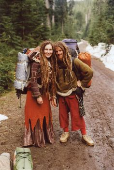 Rainbow gathering travelers. When I lived in 1313 in Knoxville, my housemate Zac & I conspired to run away to join the Rainbow Family.