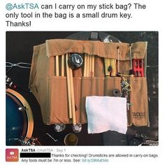 Have you ever debated about whether or not you can pack a certain item in your checked or carry-on bag? Like these drum sticks for example? Fret no more! Now you can simply snap a picture and tweet it to @AskTSA or send it via Facebook Messenger and our team will get back to you promptly with an answer. If you're a regular follower of this account, I'm sure you can think of many situations where it would have behooved somebody to send us a picture first. And that's not all. Contact us about…