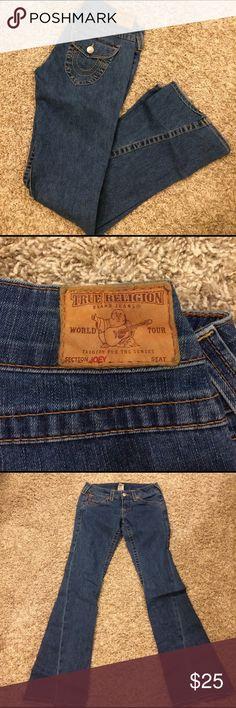 "True Religion Joey boot cut jeans size 28 True Religion Joey boot cut jeans size 28.  Perfect used condition.  Inseam is 34"", waist is 16"" laying flat. True Religion Jeans Boot Cut"