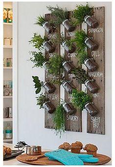 Wall Herb Garden Indoor, Herb Garden Kit, Herb Wall, Herb Garden In Kitchen, Indoor Plants, Indoor Plant Wall, Hanging Plant Wall, Garden Wall Designs, Herb Garden Design