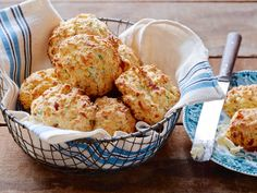 Bacon, Cheddar and Chive Biscuits recipe from Kelsey's Essentials via Food Network - Shannon suggested to use thick cut bacon and use food processor to mix the butter