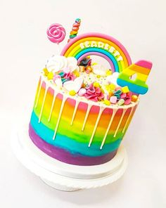 Need rainbow cake ideas for a birthday cake or a special occasion? Check out these 15 Ravishing Rainbow Cakes on Find Your Cake Inspiration! Candy Birthday Cakes, Candy Cakes, Birthday Cake Girls, Cupcake Cakes, Rainbow Birthday Cakes, Lollipop Cake, 5th Birthday, Sweetie Birthday Cake, Candy Theme Cake