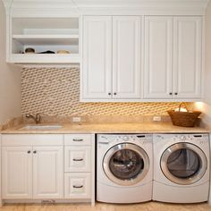 A small laundry room can be a challenge to keep laundry room cabinets functional, yet since this laundry room organization space is constantly in use, we have some inspiring design laundry room ideas. Pantry Laundry Room, Laundry Room Remodel, Laundry Room Cabinets, Basement Laundry, Small Laundry Rooms, Laundry Room Organization, Laundry In Bathroom, Utility Cabinets, Laundry Area
