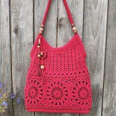 Summer cotton boho handbag crochet purse - My CMS Bag Crochet, Crochet Woman, Crochet Handbags, Crochet Purses, Cotton Crochet, Handmade Handbags, Handmade Bags, How To Start Knitting, Boho Bags