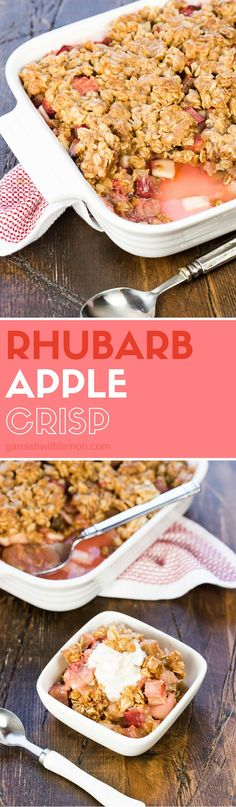Easy Rhubarb Apple Crisp is my go-to dessert for spring. Two of our favorite dessert flavors are combined in one tasty bite!