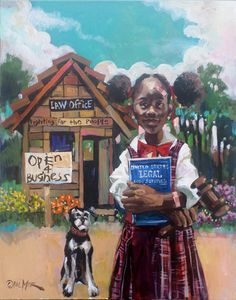 """A new limited edition art print by Charly Palmer entitled """"Open for Business"""" depicting a young African American woman who aspires to become an attorney and own her own law firm."""