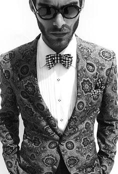 checked bow tie + printed tuxedo jacket = amazing!