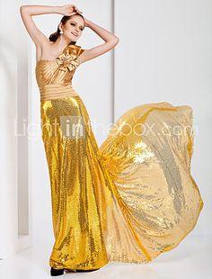 Sheath/Column One Shoulder Sweep/Brush Train Sequined Evening Dress - US$ 249.99