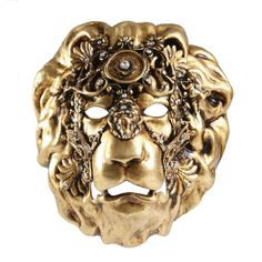 This majestic lion mask is the symbol of Venice Italy. It is handmade of paper machee and gold leaf with Swarowski crystlas. From Balocoloc Venetian Masks.