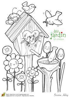 jardinage fleurs et petites betes dessins colori Pinterest