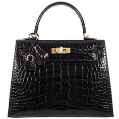 Hermes Kelly 25 Sellier Black Alligator Gold Hardware - Very Special   Hermeshandbags Hermes Kelly 25 a6cbb8b46a