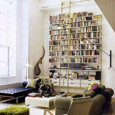 books + ladder + light + bench +
