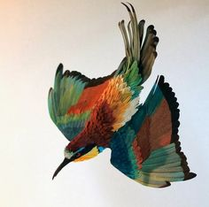 Diana Beltran Herrera is a Colombian designer and illustrator who creates realistic, vibrantly colored paper birds. Diana Beltran Herrera h. Paper Feathers, Bird Feathers, Lart Du Papier, Book Art, Bird Sculpture, Paper Sculptures, Colossal Art, Paper Birds, Paper Artist