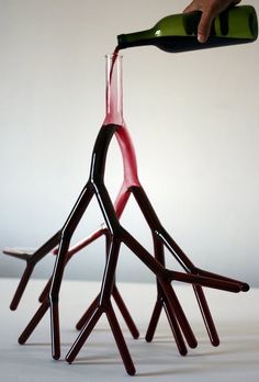 Each of these blood vessel-shaped drinking decanters are designed to hold an entire bottle of wine.