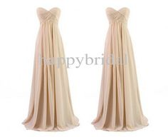 Long Champagne Bridesmaid Dresses A Line Chiffon Prom Dresses Party Dresses Homecoming Dresses