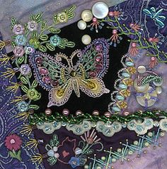 crazy quilts ribbon pearls | Crazy Quilting and Embroidery Blog by Pamela Kellogg of Kitty and Me ...