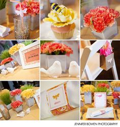 birds and the bees <3 how adorable. My favorite baby shower theme idea. And it's my fave colors!
