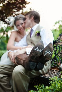 Said yes! Written on Bride's Cowboy Boots. Country Wedding.