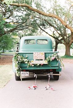 """Brides.com: . This southern couple left their gorgeous wedding in their green 1954 International Harvester pickup truck. Each door read """"Mr."""" or…"""