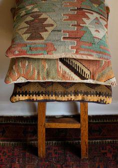 Vintage wool Kilim pillows.  Sold by bonnbonn, Etsy shop.