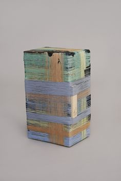 ANTON ALVAREZ The Thread Wrapping Machine Stool 170714, 2015 Polyester thread, fabric, fake-fur, pva glue, color pigment, mdf, plywood, osb, wood, plastic and metal 9 21/25 × 11 21/50 × 19 29/100 in 25 × 29 × 49 cm