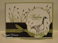 "By Crystal Komara. Uses Stampin' Up ""Wetlands"" stamp set."