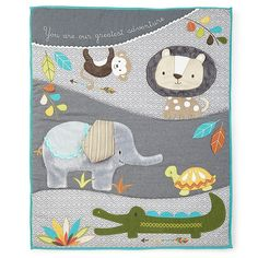 Levtex Baby Zambezi Crib Bedding Set Grey - Transform the nursery for your little adventurer with the Zambezi Crib Bedding Collection from Levtex Baby. The Crib Bedding Set includes everything you'll need for a coordinated look with decorator flair. Baby Clothes Quilt, Baby Quilts, Embroidered Baby Blankets, Levtex Baby, Velvet Quilt, Twin Quilt, Crib Bedding Sets, Baby Boy Nurseries, Quilt Sets
