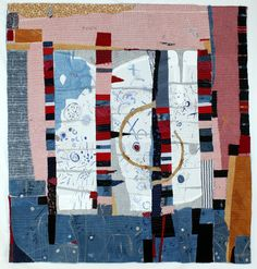 Helen Geglio, Coin Op Laundry, cotton, linen, hand embroidered and stitched Textile Fiber Art, Textile Artists, Collages, Gees Bend Quilts, Laundry Art, Collage Art Mixed Media, Textiles, Lost Art, Yellow Painting