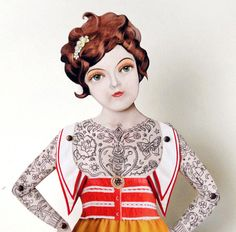 Tattooed lady paper doll